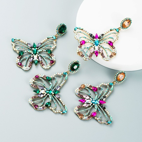 new hollow colorful butterfly pendant alloy diamond earrings wholesale Nihaojewelry  NHLN419817's discount tags