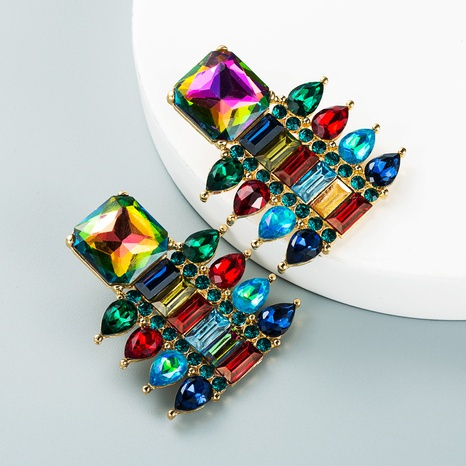 fashion color rhinestone diamond geometric earrings wholesale Nihaojewelry  NHLN419815's discount tags