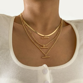 simple copper chain T-shaped pendent multi-layer metal necklace wholesale Nihaojewelry  NHXR418913
