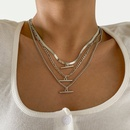 simple copper chain Tshaped pendent multilayer metal necklace wholesale Nihaojewelry  NHXR418913