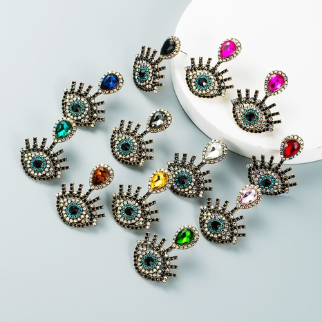 pendientes de ojo de diablo tachonados de diamantes retro al por mayor Nihaojewelry NHLN418948's discount tags
