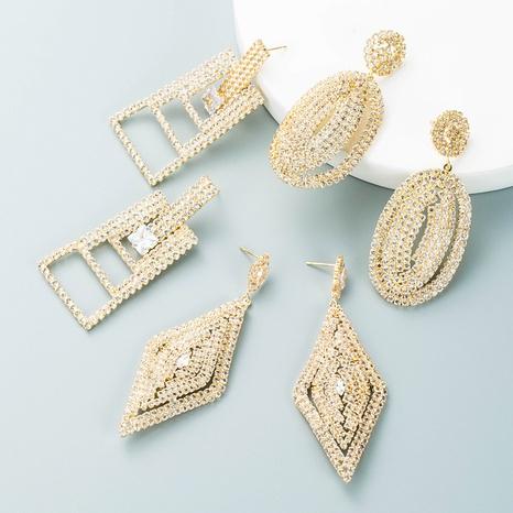 Pendiente de gota de agua de cristal con incrustaciones de diamantes de imitación de aleación geométrica de moda al por mayor Nihaojewelry NHLN418961's discount tags