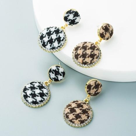 Pendientes redondos de tela de pata de gallo de aleación simple al por mayor Nihaojewelry NHLN418967's discount tags