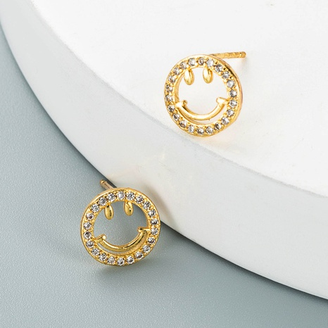 simple copper zircon hollow smiley face earrings wholesale Nihaojewelry NHYIS418968's discount tags