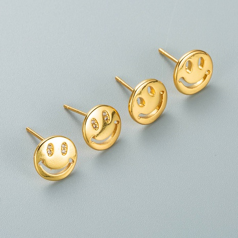 Korean copper gold-plated smiley face earrings wholesale Nihaojewelry NHYIS418986's discount tags