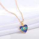 new heart blue eye multicolor irregular pendant clavicle chain wholesale Nihaojewelry  NHGO419005