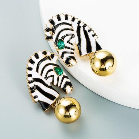 creative zebra striped horse head alloy drop oil earrings wholesale Nihaojewelry  NHLN419810's discount tags