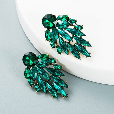 fashion color rhinestone alloy leaf shape earrings wholesale Nihaojewelry  NHLN419808's discount tags