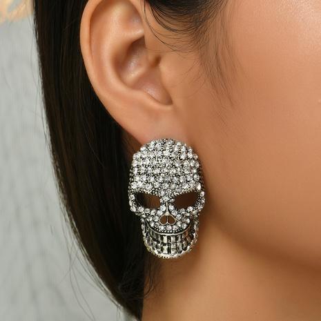 Halloween diamantbesetzte Totenkopfohrringe Großhandel Nihaojewelry NHYAO419759's discount tags