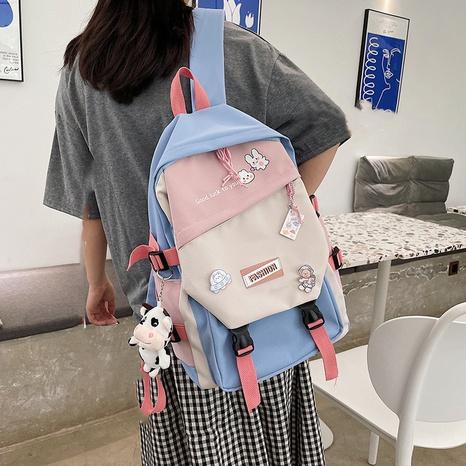 Mochila con patrón de conejito de dibujos animados de color de golpe de estilo coreano al por mayor nihaojewelry NHTG417850's discount tags