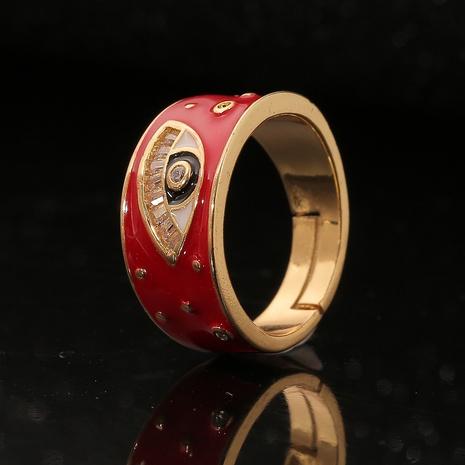 Anillo de cobre de circón con incrustaciones de ojo de diablo de gota de aceite de color retro simple al por mayor Nihaojewelry NHBU419017's discount tags