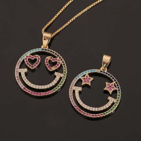 Round Smiley Heart-shaped Pentagram Necklace Wholesale Nihaojewelry  NHBU419052's discount tags