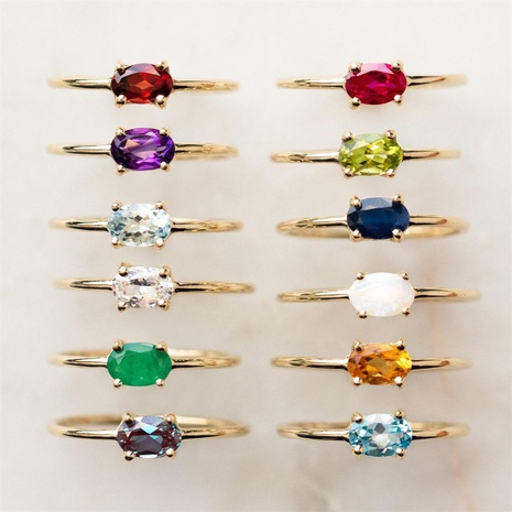 18K vintage colorful inlaid zircon geometric copper ring wholesale nihaojewelry NHUW419112's discount tags