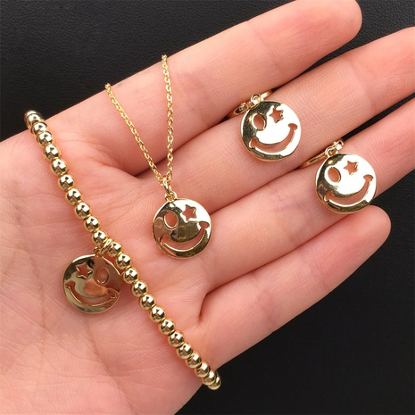 simple copper gold-plated smiley face necklace earring set wholesale Nihaojewelry NHPY419240's discount tags