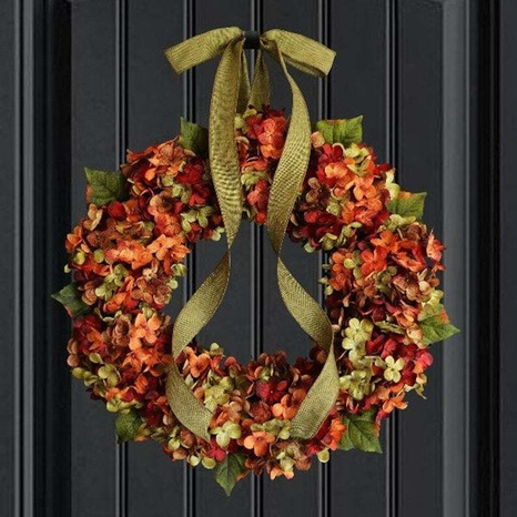 Thanksgiving Hydrangea Wreath Door Hanging Simulation Flower Decoration Wholesale Nihaojewelry  NHGAL419275's discount tags