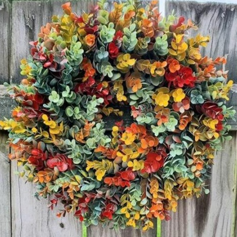 Simulation flower color eucalyptus wreath door hanging photography props wholesale Nihaojewelry  NHGAL419285's discount tags