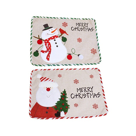 Christmas Snowman Embroidery Table Mat Wholesale Nihaojewelry NHGAL419293's discount tags