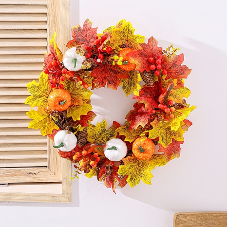 Thanksgiving Simulation White Pumpkin Maple Leaf Wreath Wholesale Nihaojewelry  NHGAL419297's discount tags