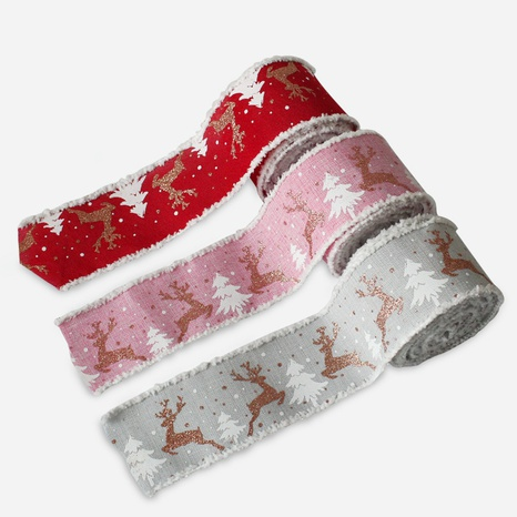 Christmas Tricolor Elk Printed Ribbon Gift Bag Wholesale Nihaojewelry  NHGAL419327's discount tags