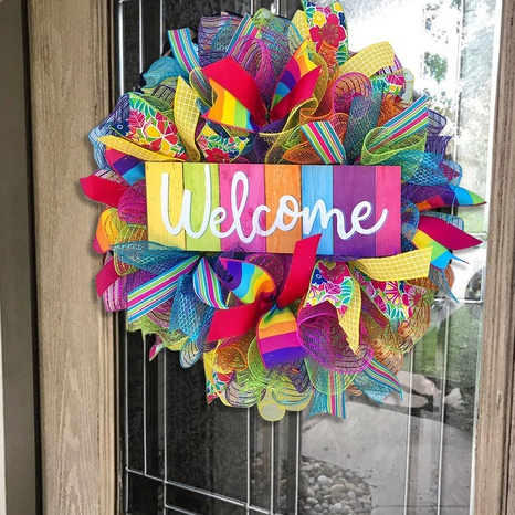 Pride month colorful rainbow garland door hanging wholesale Nihaojewelry  NHGAL419334's discount tags