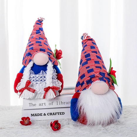 Creative New American Independence Day Faceless Doll Hat Double Gnome Decoration Wholesale Nihaojewelry NHGAL419336's discount tags