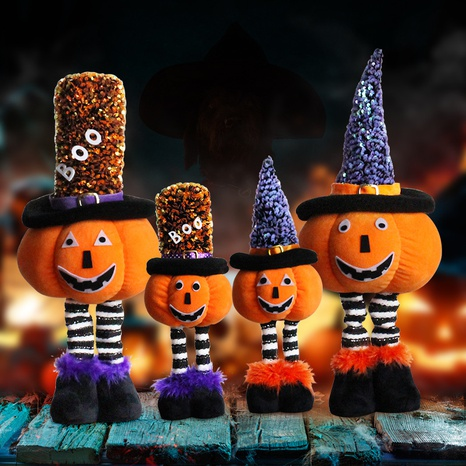 New Halloween Decorations Telescopic Pumpkin Standing Posture Doll Wholesale Nihaojewelry NHGAL419353's discount tags