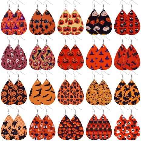 Halloween Leder Kürbis Schädel Wassertropfen Form Ohrringe Großhandel Schmuck Nihaojewelry NHNZ419432's discount tags