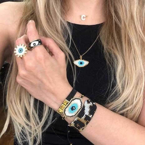 remache estampado de leopardo mal de ojo Miyuki cuentas tejidas pulsera de múltiples capas conjunto al por mayor joyería Nihaojewelry NHGW419451's discount tags