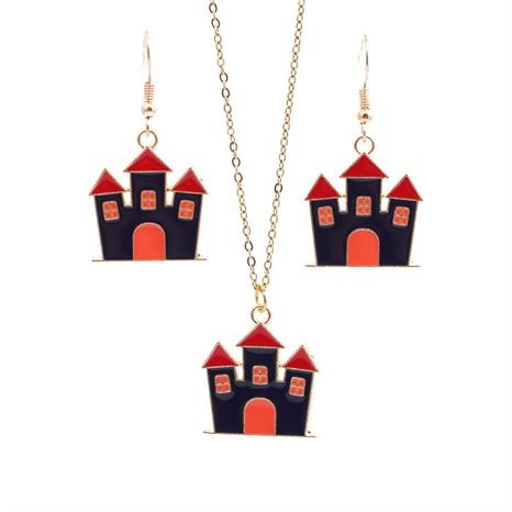 Halloween-Legierung Öltropfen Schloss Ohrringe Halskette Set Großhandel Schmuck Nihaojewelry NHYL419476's discount tags