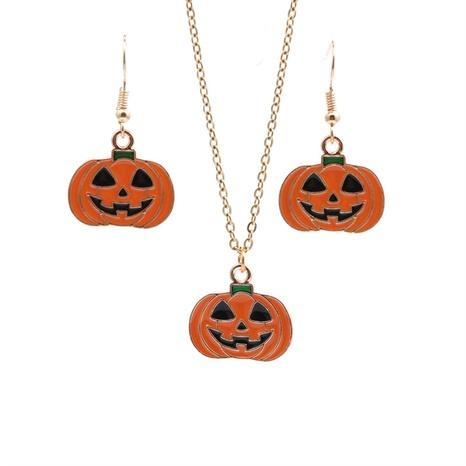 Halloween Kürbis Tropfen Öl Anhänger Halskette Ohrring Set Großhandel Schmuck Nihaojewelry NHYL419484's discount tags
