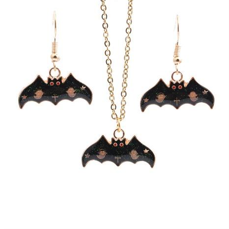 Halloween Legierung Fledermaus Ohrringe Halskette Set Großhandel Schmuck Nihaojewelry NHYL419497's discount tags