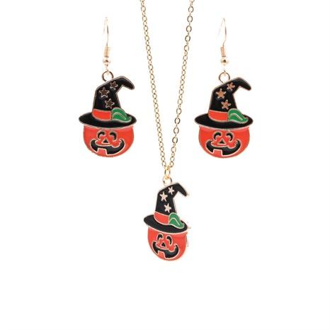 Halloween Legierung Stern Zauberhut Kürbis Geist Ohrringe Halskette Set Großhandel Schmuck Nihaojewelry NHYL419498's discount tags