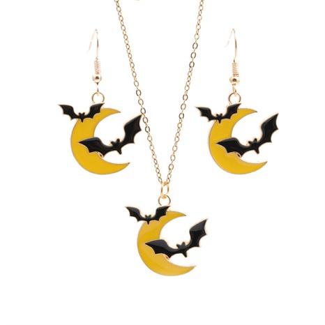 Halloween-Legierung Öltropfen Mond Fledermaus Ohrringe Halskette Set Großhandel Schmuck Nihaojewelry NHYL419502's discount tags