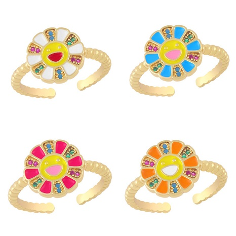 fashion sunflower smiley color oil dripping inlaid zircon copper ring wholesale nihaojewelry NHAS419550's discount tags