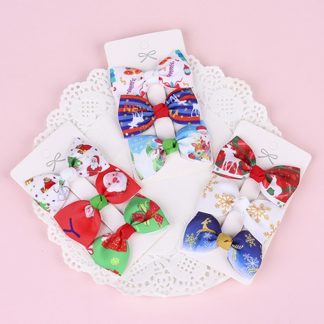 Christmas printed bow children's hairpins 3 sets wholesale nihaojewelry  NHWO419683's discount tags