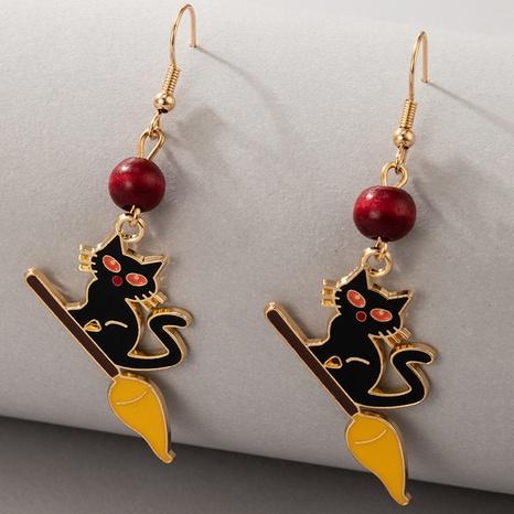 Halloween kitten earrings wholesale Nihaojewelry NHGY420500's discount tags