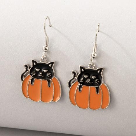 Halloween pumpkin kitten animal earrings wholesale Nihaojewelry NHGY420499's discount tags