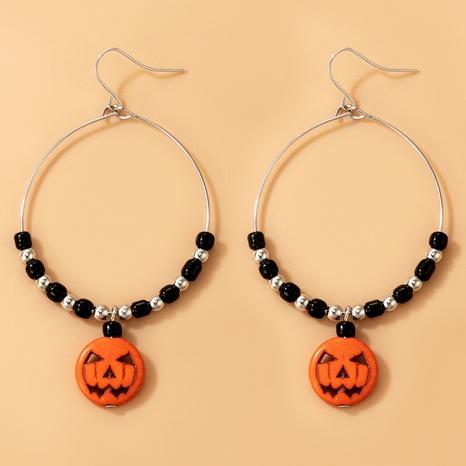 Halloween Geistergesicht Kürbisperlen Kreis Ohrringe Großhandel Nihaojewelry NHGY420498's discount tags