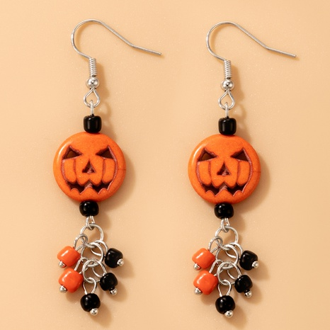 Halloween Kürbis Geist Quaste lange Diamantohrringe Großhandel Nihaojewelry NHGY420497's discount tags