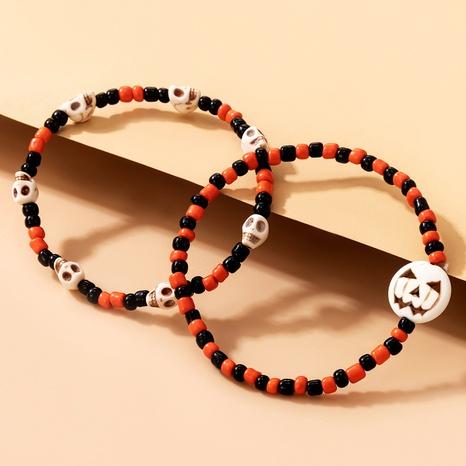 Halloween Skull Pumpkin Rice Beads 2-Piece Bracelet Wholesale Nihaojewelry NHGY420496's discount tags