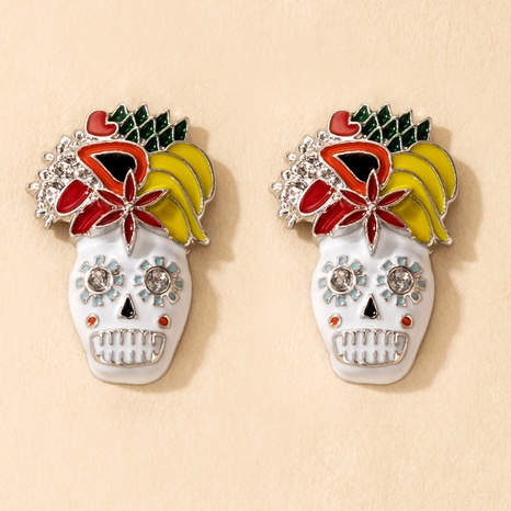 Halloween Color Skull Earrings Wholesale Nihaojewelry NHGY420495's discount tags