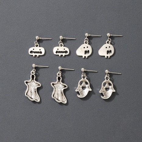 Halloween Hexe Kürbis Schädel 4 Paar Ohrringe Set Großhandel Nihaojewelry NHGY420492's discount tags