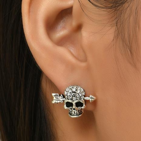 Halloween Jewelry Glossy Skull Full Rhinestone Stud Earrings Wholesale Nihaojewelry  NHYAO421498's discount tags