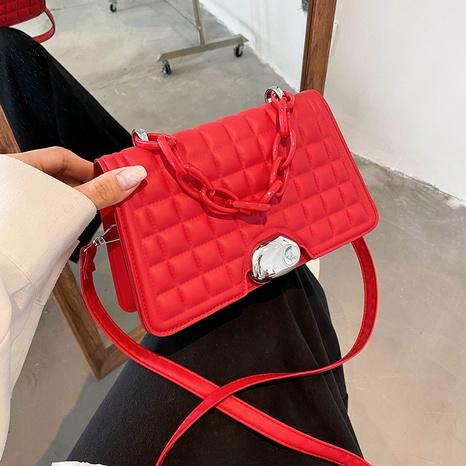 retro solid color wide chain plaid square crossbody handbag wholesale nihaojewelry NHRU420635's discount tags