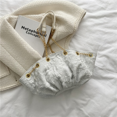 simple fashion folds underarm messenger cloud shape bag wholesale nihaojewelry NHRU420651's discount tags