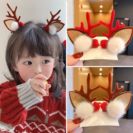 Christmas cute antlers elk plush ball children's hairpin wholesale nihaojewelry  NHCQ420784's discount tags