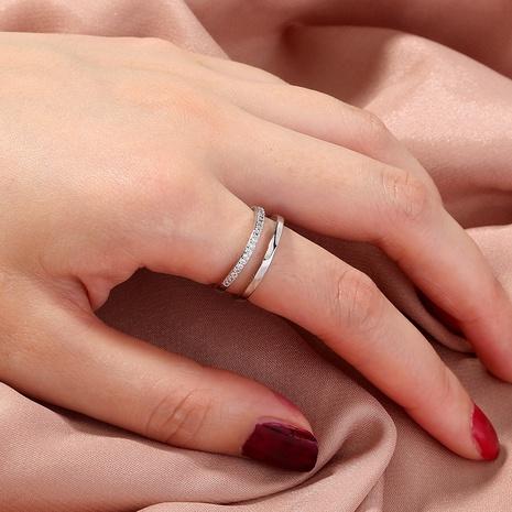 anillo de múltiples capas de circón de cobre ajustable abierto retro al por mayor Nihaojewelry NHDB420827's discount tags