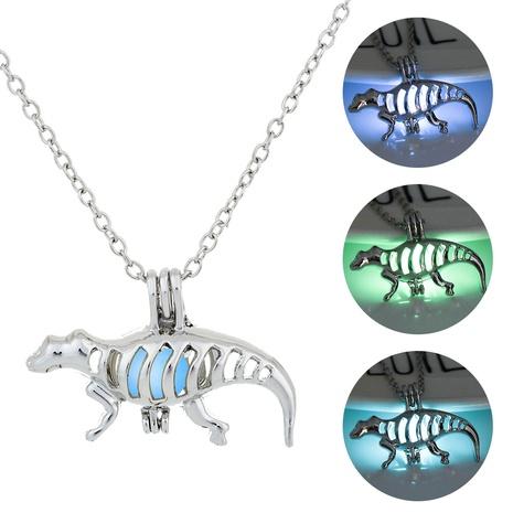 Halloween hollow dinosaur animal pendant fashion luminous necklace wholesale jewelry Nihaojewelry NHDB420836's discount tags