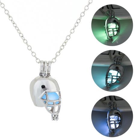 Halloween Luminous Football Helmet Pendant Necklace wholesale jewelry Nihaojewelry NHDB420837's discount tags