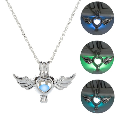 Halloween heart shape angel pendant luminous hollow necklace wholesale jewelry Nihaojewelry NHDB420838's discount tags